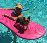 Ziggy surfing with Mom