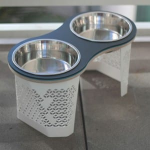 Tall Peanut Dog Bowl